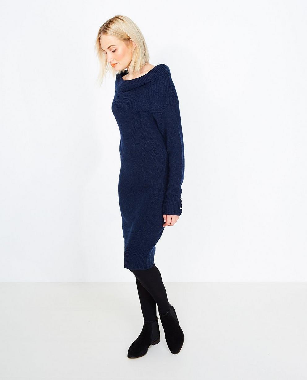 Robe en tricot bleu nuit - avec col châle - JBC